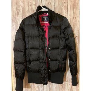 Pink Victoria Secret Black Puffer Jacket